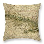 Vintage Map Of Cuba - 1639 Throw Pillow