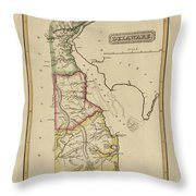 Antique Map Of Delaware Throw Pillow