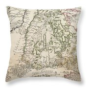 Vintage Map Of Finland - 1740s Throw Pillow
