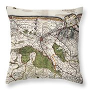 Vintage Map Of Flanders Belgium - 17th Century Throw Pillow