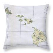 Vintage Map Of Hawaii  Throw Pillow