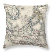 Vintage Map Of Indonesia And The Philippines Throw Pillow