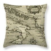 Vintage Map Of Italy And Greece - 1587 Throw Pillow