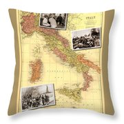 Vintage Map Of Italy Genealogy Map Throw Pillow