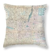 Vintage Map Of Jersey City And Hoboken  Throw Pillow