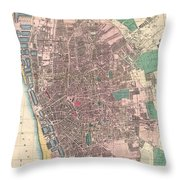 Vintage Map Of Liverpool England  Throw Pillow