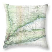 Vintage Map Of Long Island Ny Throw Pillow