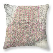 Vintage Map Of Maine  Throw Pillow