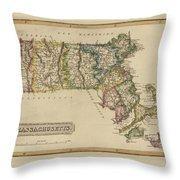 Antique Map Of Massachusetts Throw Pillow