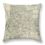 Vintage Map Of Memphis Tennessee - 1911 Throw Pillow