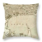 Vintage Map Of Messina Italy - 1900 Throw Pillow