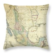 Vintage Map Of Mexico - 1847 Throw Pillow
