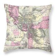 Vintage Map Of Montana, Wyoming And Idaho  Throw Pillow