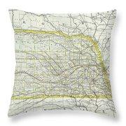 Vintage Map Of Nebraska - 1889 Throw Pillow