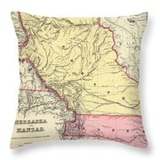 Vintage Map Of Nebraska And Kansas - 1856 Throw Pillow