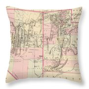 Vintage Map Of Nevada And Utah - 1880 Throw Pillow