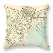 Vintage Map Of New Haven Connecticut - 1893 Throw Pillow