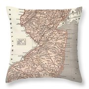Vintage Map Of New Jersey - 1845 Throw Pillow