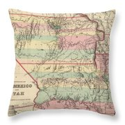 Vintage Map Of New Mexico And Utah - 1857 Throw Pillow
