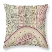 Vintage Map Of New Orleans - 1880 Throw Pillow