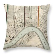 Vintage Map Of New Orleans Louisiana - 1845 Throw Pillow