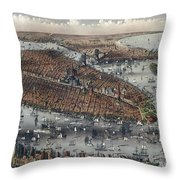 Vintage Map Of New York And Brooklyn Circa 1875 Throw Pillow