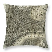 Vintage Map Of New York City - 1842 Throw Pillow
