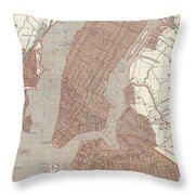Vintage Map Of New York City - 1845 Throw Pillow