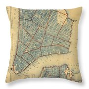 Vintage Map Of New York City - 1846 Throw Pillow