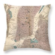 Vintage Map Of New York City - 1867 Throw Pillow