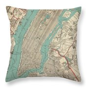 Vintage Map Of New York City - 1890 Throw Pillow