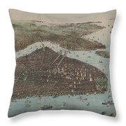 Vintage Map Of New York City - 1905 Throw Pillow
