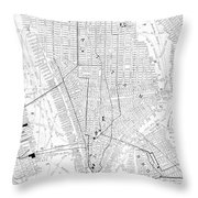 Vintage Map Of New York City - 1911 Throw Pillow