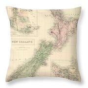 Vintage Map Of New Zealand - 1854 Throw Pillow