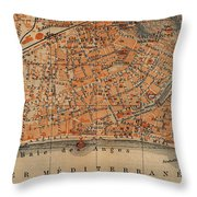 Vintage Map Of Nice France - 1914 Throw Pillow