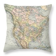Vintage Map Of North America - 1892 Throw Pillow