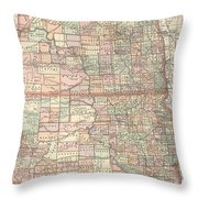 Vintage Map Of North And South Dakota - 1891 Throw Pillow
