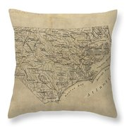 Vintage Map Of North Carolina - 1893 Throw Pillow