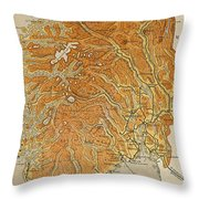 Vintage Map Of Norway - 1914 Throw Pillow