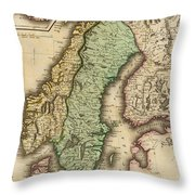 Vintage Map Of Norway And Sweden - 1831 Throw Pillow