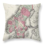 Vintage Map Of Norway And Sweden - 1865 Throw Pillow