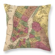 Vintage Map Of Nyc And Brooklyn - 1868 Throw Pillow