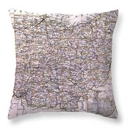 Vintage Map Of Ohio - 1884 Throw Pillow