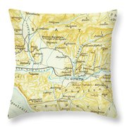 Vintage Map Of Olympia Greece - 1894 Throw Pillow