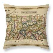 Antique Map Of Pennsylvania Throw Pillow