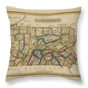 Antique Map Of Pennsylvania Throw Pillow