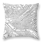 Vintage Map Of Pittsburgh - 1885 Throw Pillow