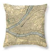 Vintage Map Of Pittsburgh Pa - 1891 Throw Pillow