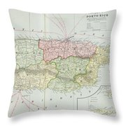 Vintage Map Of Puerto Rico - 1901 Throw Pillow