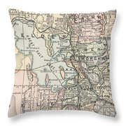 Vintage Map Of Salt Lake City - 1891 Throw Pillow